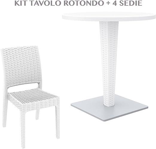 professional 882 RIVA + FLORIDA Mesa redonda con 4 sillas de jardín efecto Rattan de plástico resistente resina de exterior blanco/marrón/antracide 882 Riva + Florida, BIANCO: Amazon.es: Jardín