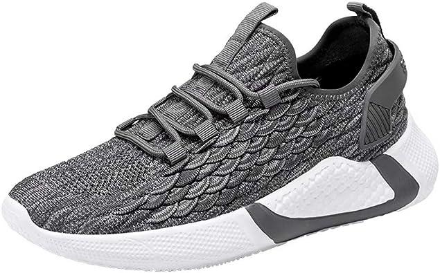 Zapatos De Running Hombre Malla Tejida con Mosca Sneakers Transpirables Casual Zapatos Aire Libre Zapatillas De Deporte: Amazon.es: Zapatos y complementos
