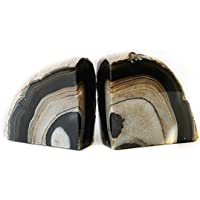 JIC Gem Polished Dyed Black Agate Bookend(s) 1 Pair 2 to 3 Lbs from Brazilian with Rubber Bumpers for Office and Home Decoration