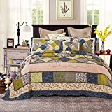 Tache 3 PC Cotton Floral Spring Shower Patchwork Quilt Bedspread Set, Twin
