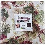 Kanvas Studio Floral Impressions Rose/Plum 10X10 Pack 42 10-inch Squares Layer Cake Benartex