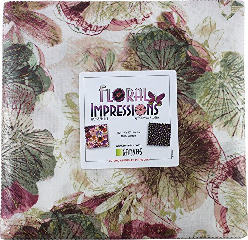 Fabric Rose Floral (Kanvas Studio Floral Impressions Rose/Plum 10X10 Pack 42 10-inch Squares Layer Cake Benartex, Assorted)