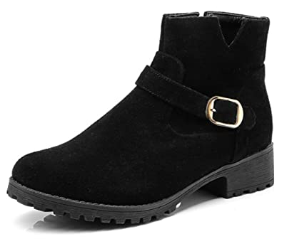 Women's Casual Buckle Strap Block Low Heel Booties Inside Zip Up Round Toe Ankle Boots With Zipper