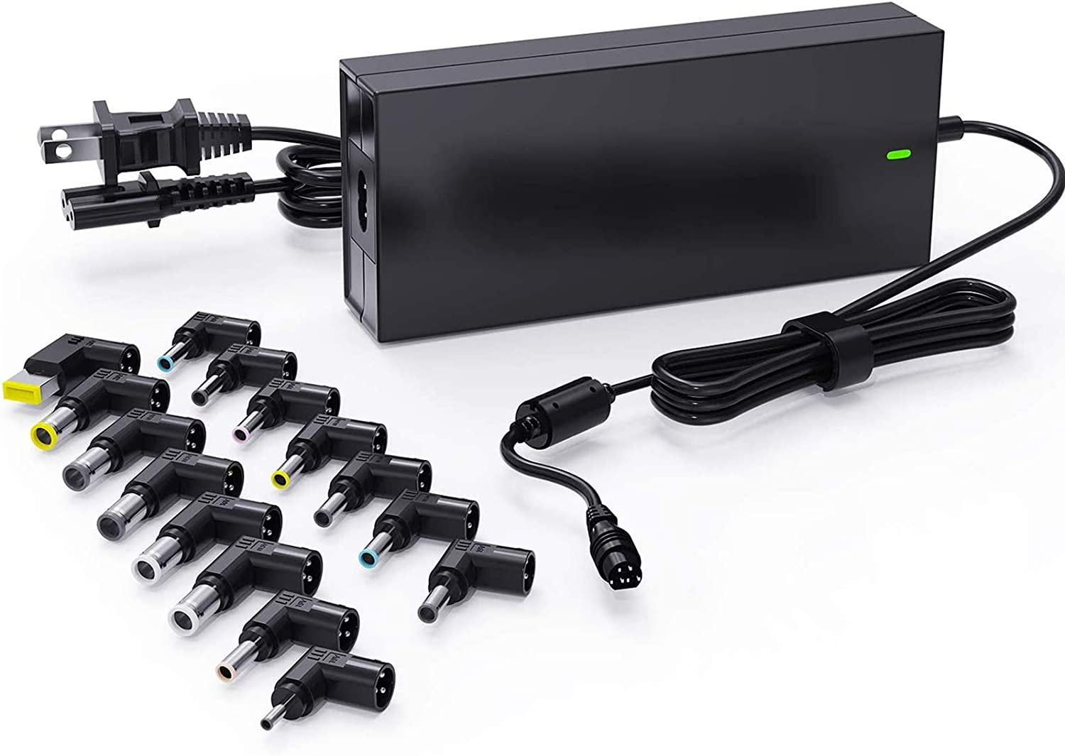 90W Universal Portable Laptop Charger 15-20V with Multi Tips for HP Dell Asus Lenovo Acer JBL IBM Samsung Toshiba Sony Fujitsu Gateway Notebook Ultrabook Power Adapter (Automatic Voltage, 15 Tips)