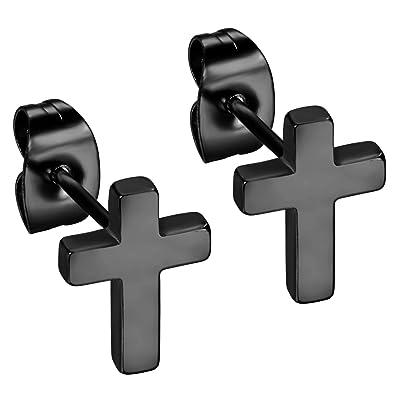 Flongo Pendientes de cruz aretes de acero inoxidable, Pendientes para hombre mujer negros, Pulidos cruz pendientes pequeños de estilo