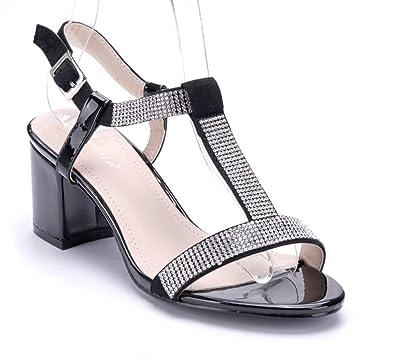 42832ce8c8502a Schuhtempel24 Damen Schuhe Sandaletten Sandalen schwarz Blockabsatz  Ziersteine 6 cm