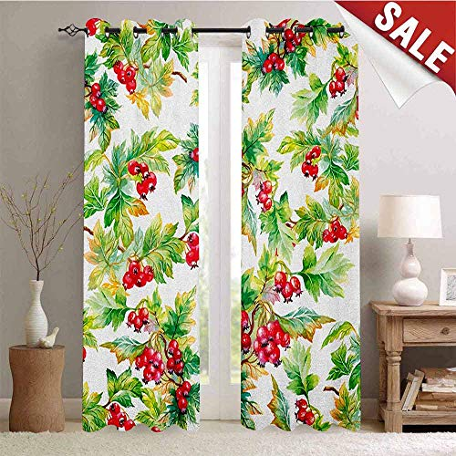 Scarlet Pinstripe Short - Rowan, Drapes for Living Room, Watercolor Style Branches with Rowan Berries Winter Christmas Concept, Window Curtain Fabric, W72 x L96 Inch Scarlet Mustard Green