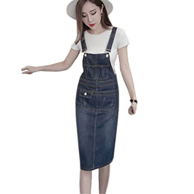 S 5xl Plus Size Denim Dress New Summer Style Loose Strap Jeans Dress