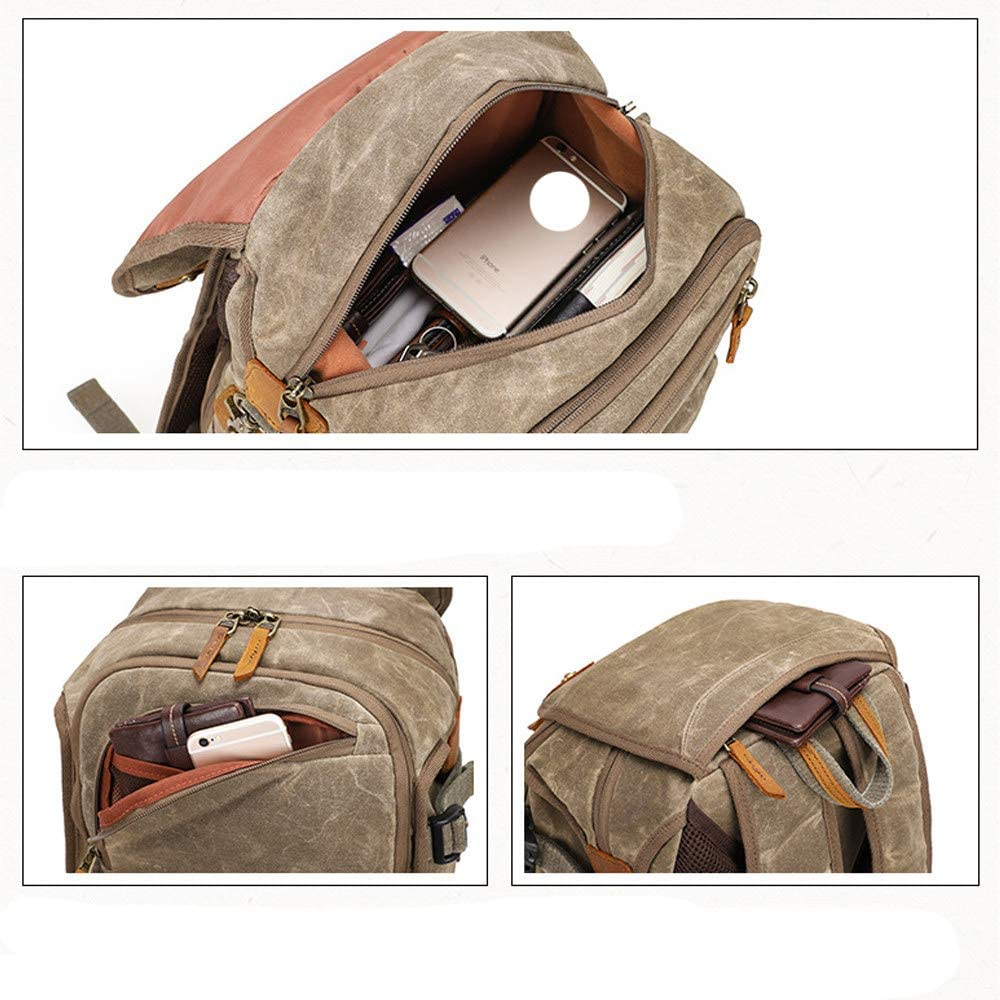 Vintage Canvas Camera Bag Backpack Tripod and Bottle Holder Anti-Theft Waterproof Large DSLR Camera Bag with 15.4 Laptop Compartments for Nikon Canon Sony Pentax