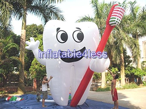 inflatable4less Inflatable Tooth Advertising Dentist Ad Health Custom Made (20FT) (Toothbrush Inflatable)