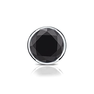 b720071fc Image Unavailable. Image not available for. Color: 14k White Gold Bezel Round  Black Diamond SINGLE STUD Earring ...
