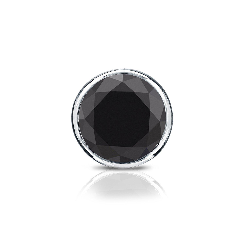 14k White Gold Bezel Round Black Diamond SINGLE STUD Earring (1/2 cttw) screw back