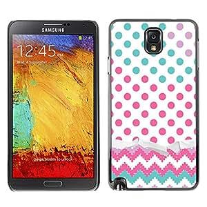 X-ray Impreso colorido protector duro espalda Funda piel de Shell para SAMSUNG Galaxy Note 3 III / N9000 / N9005 - Dot Chevron Teal Pink