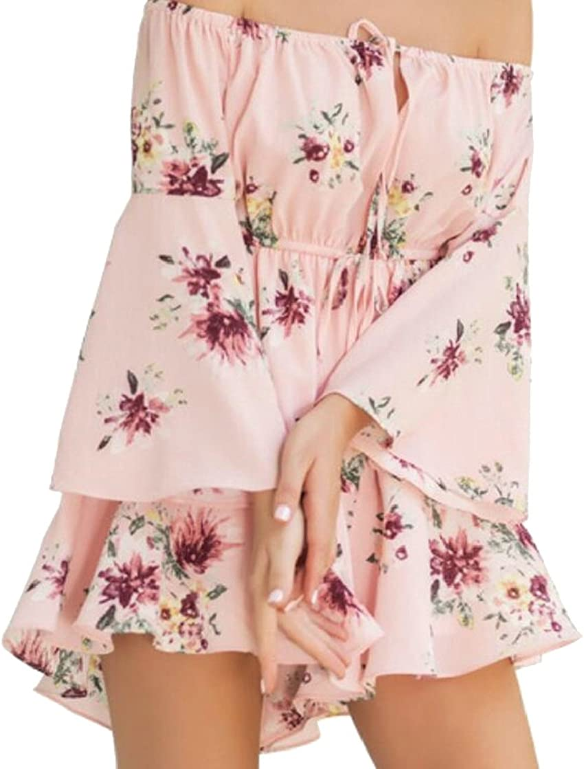 lovever Women Floral Printed Holiday Style Drawstring Mini Off Shoulder Chiffon Trumpet Sleeves Shorts Romper Jumpsuits