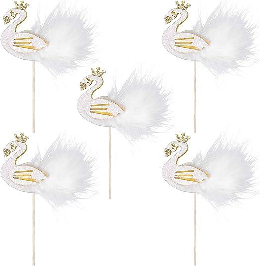 Handmade Bride /& Groom Set of 2 6 inch Glitter//Feather Wedding Swan Bird
