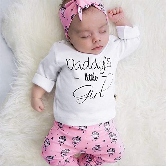 Amazon.com: Baby Girl Outfits,Fineser Newborn Toddler Infant Baby Girls 0-24M Letter Tops+Cartoon Girl Print Pants+Headbands Clothes Set: Clothing