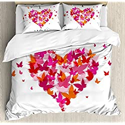 Ambesonne Love Decor Duvet Cover Set, Stylish Heart Figure Filled with Butterflies Soul Mate Real True Deep My Dear Valentines, 3 Piece Bedding Set with Pillow Shams, Queen/Full, Multi