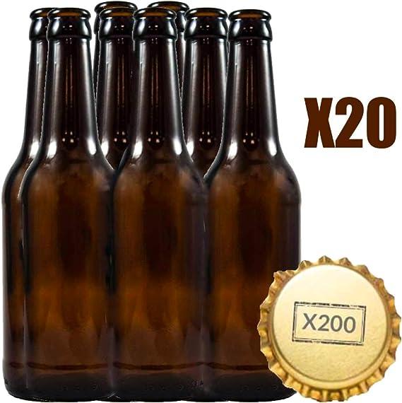 Botellas vacias de cerveza 33cl reutilizables con chapa incluidas | kit 20 botellines y 200 chapas para elaborar cervezas artesana | Pack de botella elaboracion artesanal en casa: Amazon.es: Hogar