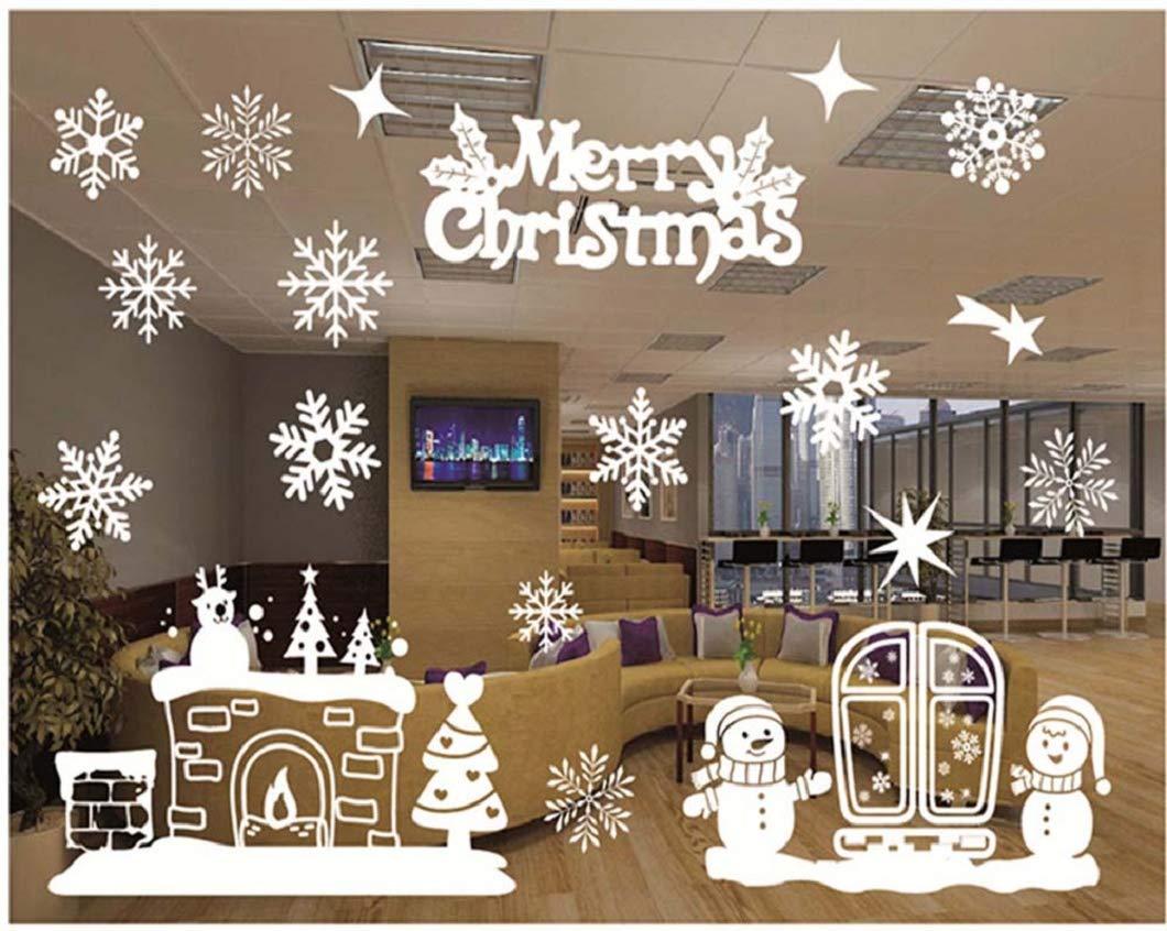 Adesivi per vetrofanie decorazione vetrine Decorazione per fiocchi di neve Adesivi Adesivi per decorazioni natalizie Adesivi elettrostatici in PVC riutilizzabili Vetrata Vetreria Decorazione Invernale heekpek