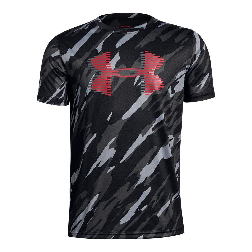 Under Armour Boys' Tech Big Logo Printed T-Shirt, Black (004)/Red, Youth X-Small