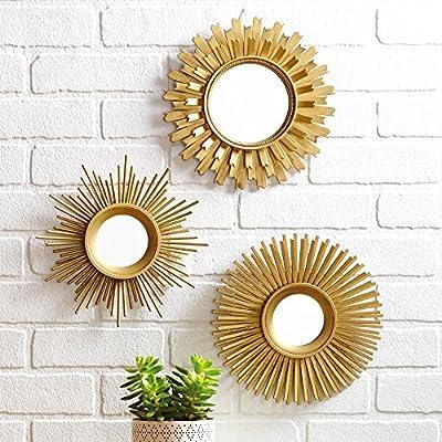3-Piece Sunburst Wall Mirror Set, Multiple Finishes, Gold