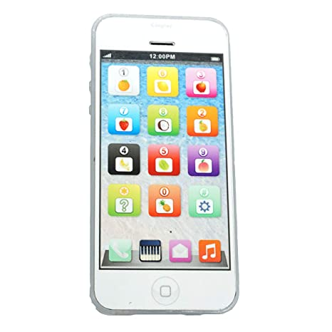 Cooplay White Yphone Y-phone Toy Play Music Cell Phone Mobile Phone Cellphone with USB Recharable Cable for Baby Kids Sets of 1