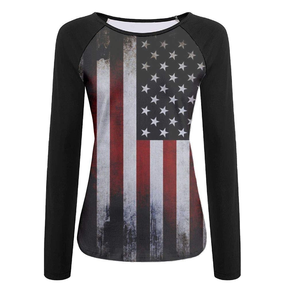 CUTEDWARF 3D Print American Flag Womens Long Sleeve Shirt Athletic Baseball Shirt