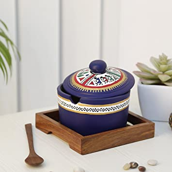 Craftbell Terracotta Blue Pickle Jar Set With Sheesham Tray And