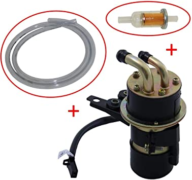 Kraftstoffpumpe Benzinpumpe Set Inkl Filter Und Schlauch Für Yamaha Yzf R1 R6 1000 Vmx 1200 Vmax Fzs 1000 12v Abgewinkelt Eingang 10mm Ausgang 8mm Auto