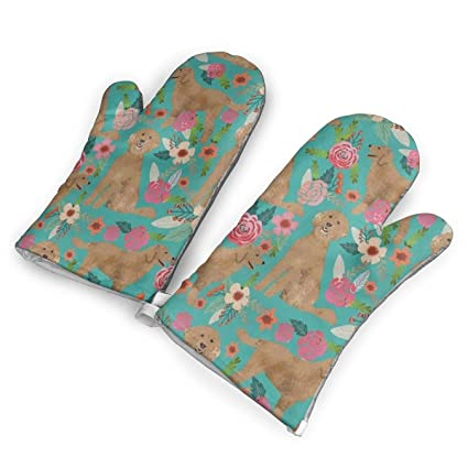 Amazoncom Hdgasug Oven Mitts 1 Pair Golden Doodle Floral