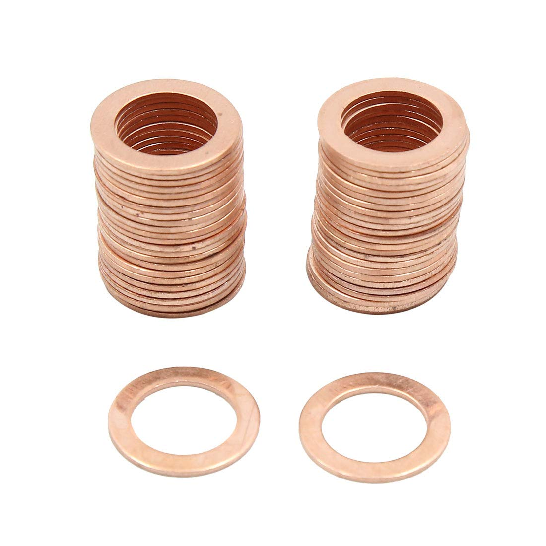 X AUTOHAUX 13.5mm Inner Dia Copper Flat Washers Car Sealing Gaskets Rings 50pcs
