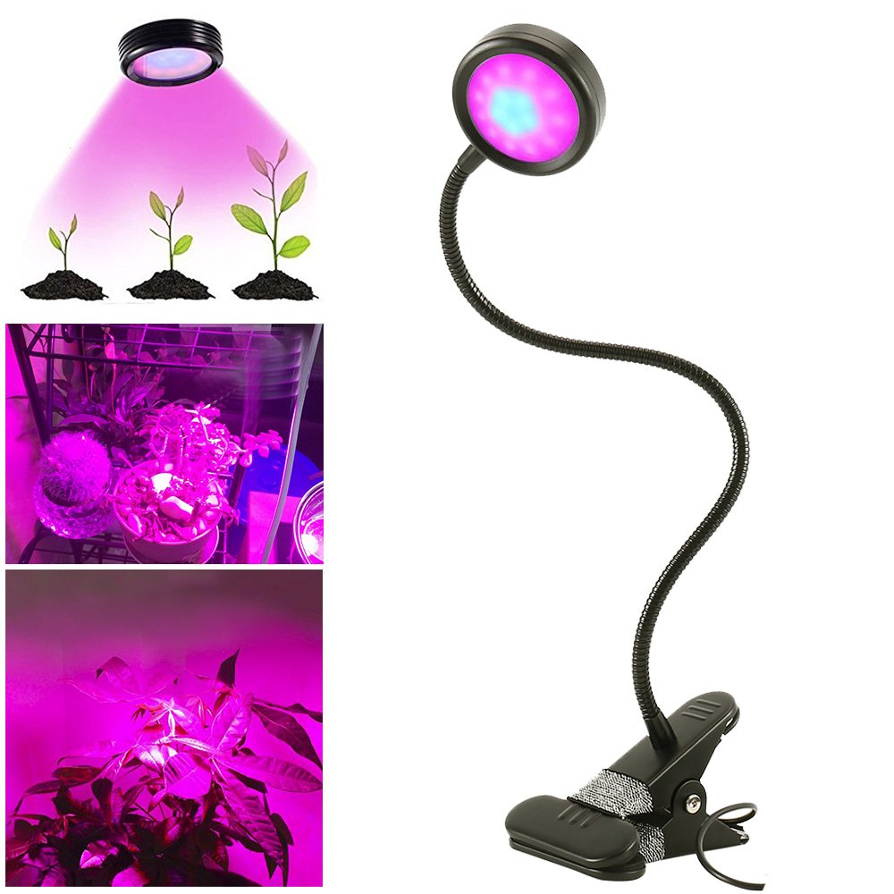 8W LED Plant Grow Light Flexible Gooseneck Clip On Adjustable 2 Level Dimmable 16 LEDs Lamp for Grow Indoor Plants Greenhouse Garden Office Desktop Vegetable Flower Librao