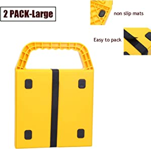 """Homeon Wheels Stabilizing Jack Pads for RV, Camper Leveling Blocks Help Prevent Jacks from Sinking (2 pieces-11.4"""" x 11.4"""")"""