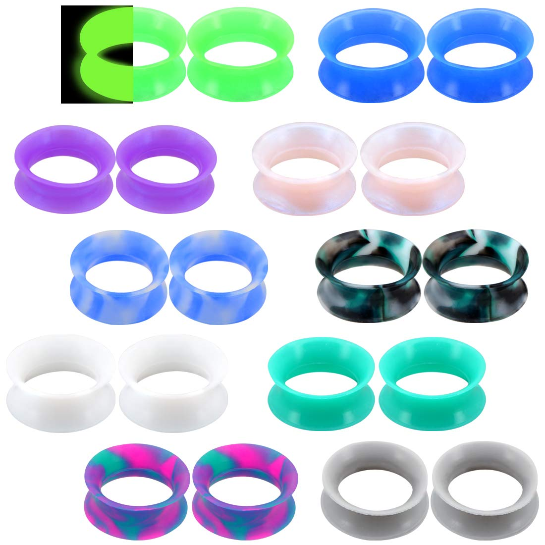 Jewseen 20PCS Soft Silicone Ear Gauges Flesh Tunnels Plugs Stretchers Expander Double Flared Flesh Tunnels Ear Piercing Jewelry by Jewseen