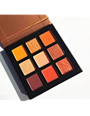 Pressed Eyeshadow Palette,ROMANTIC BEAR Kit de mini fard à paupières professionnel de palette de maquillage métallisé scintillant de 9 couleurs (Orange)