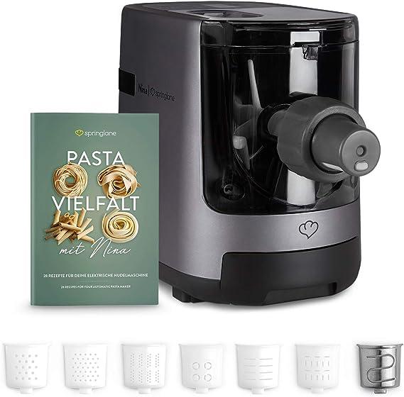 Máquina eléctrica para hacer pasta y fideos, Elaboración automática de pasta fresca y espagueti casero - 7 accesorios, 4,5 kg, con espatula, cepillo de limpieza, y libro de recetas: Amazon.es: Hogar
