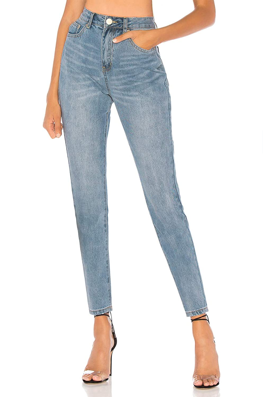 MONYRAY Jeans Skinny a Vita Alta Pantaloni Stretch Denim Elasticizzati Jegging Blu Lavaggio Chiaro//Medio Neri