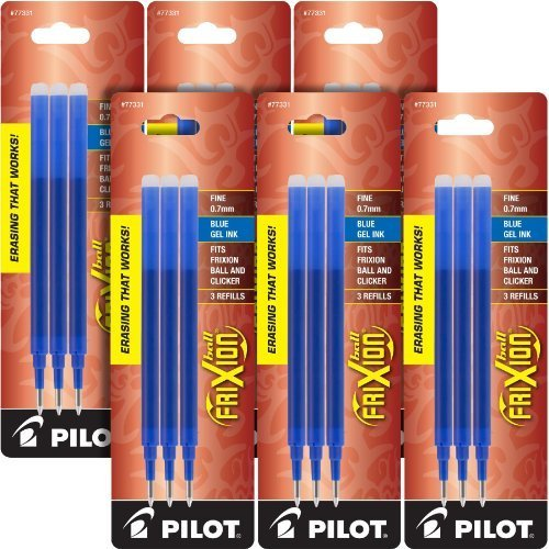 Pilot Gel Ink Refills for FriXion Erasable Gel Ink Pen, Fine Point, Blue Ink, 6 Packs total of 18 refills (77331) by Pilot (Image #1)