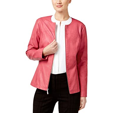 8d27973179a8d Alfani Womens Faux Leather Long Sleeves Motorcycle Jacket Pink XL at ...