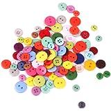 Lot de 100pcs Bouton en Résine Rond pour Artisanat Couture Fabrication de Carte Taille Mélangée Multicolore