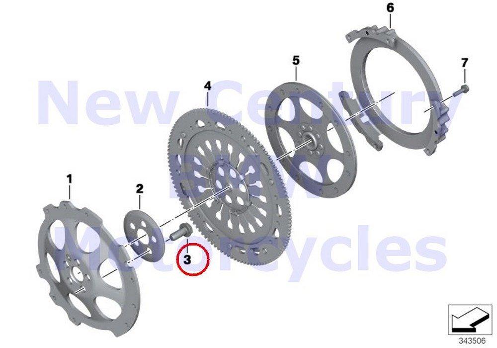4 x BMW Genuine Motorcycle Clutch - Single Parts Collar Screw M11X1.5X27 R nine T R1200GS R1200GS Adventure HP2 Enduro HP2 Megamoto R1200RT R900RT R1200R R1200ST HP2 Sport R1200S