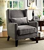 Furniture of America Aiza Contemporary Upholstered Wingback Accent Chair, Gray Review