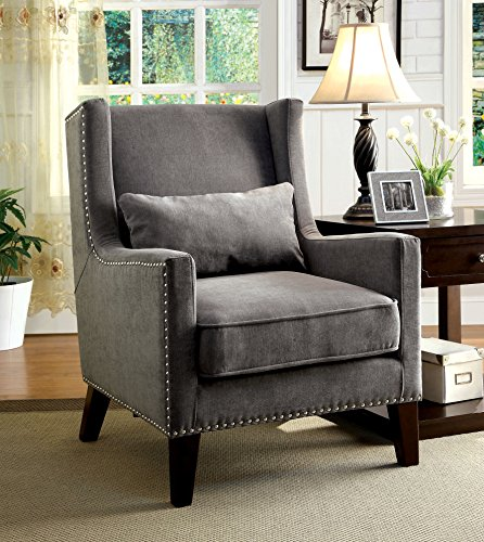 Cheap Furniture of America Aiza Contemporary Upholstered Wingback Accent Chair, Gray
