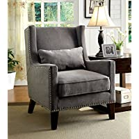 Furniture of America Aiza Contemporary Upholstered Wingback Accent Chair, Gray