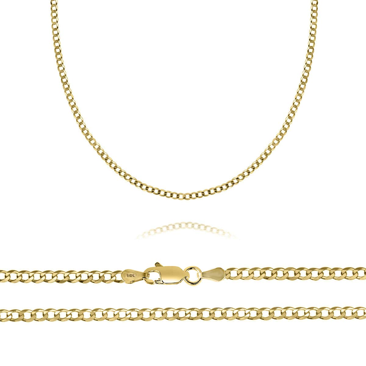 14K Solid Gold 2.5MM Curb Chain Necklace with Lobster Clasp, 16'' - 30'' (20)
