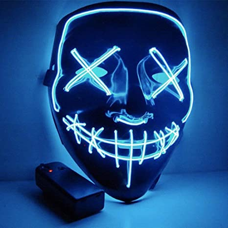 Mascara Halloween LED, Zolimx Adultos el Led Mask de Accesorio para Halloween/ Navidad Cosplay Cartoon Payaso Máscara de Terror para Party Night Club ...