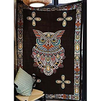 """Psychedelic Owl Tapestry Large Format Art Bedspreads Dorm Decor,60""""x 80"""",Twin Size"""