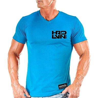 NEW Men/'s Monsta Clothing Hard Livin Ultra Soft V Neck Bodybuilding Blue T-Shirt