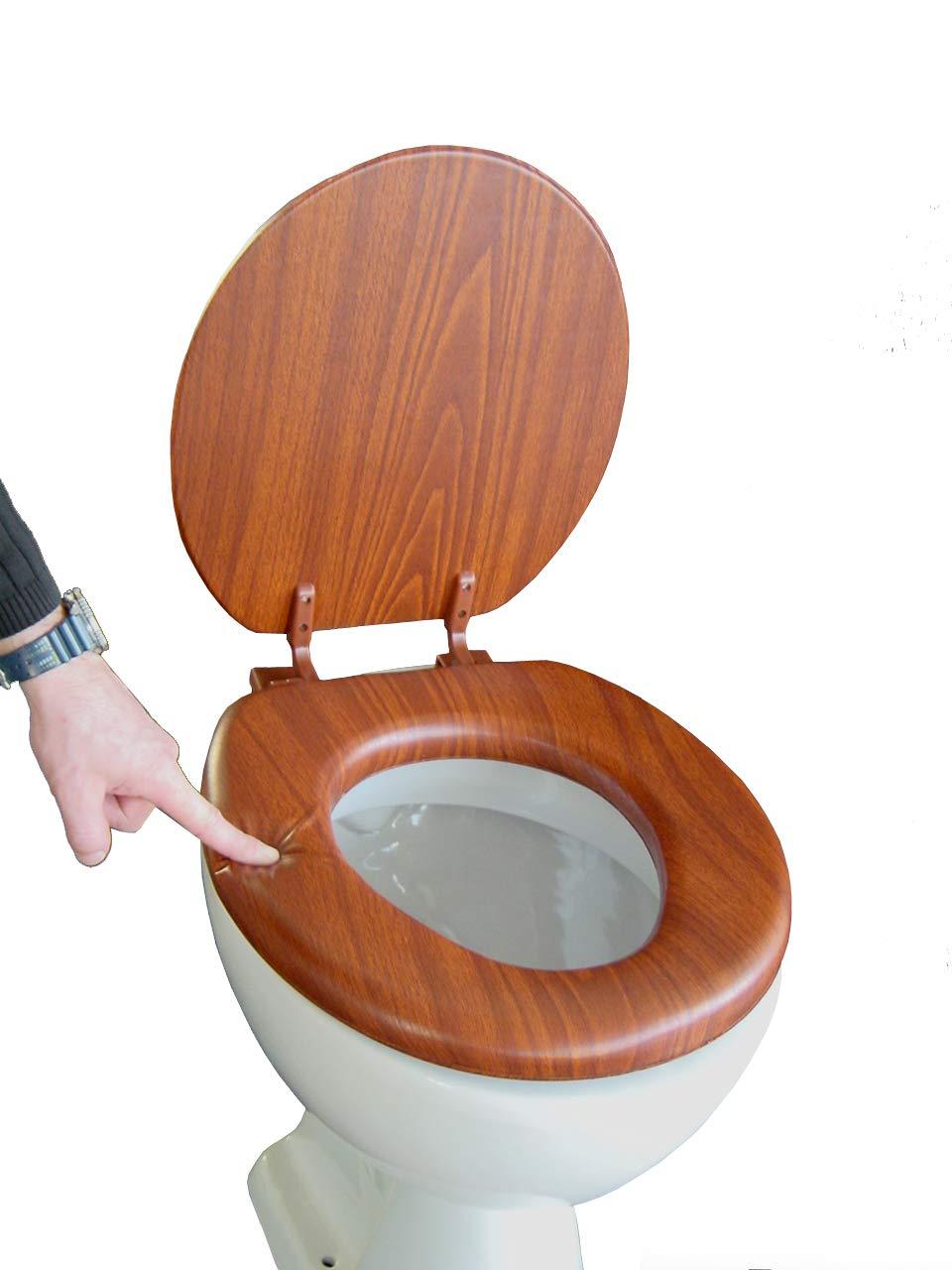 ADOB, Sedile copri WC, imbottito, imitazione legno di quercia 43302