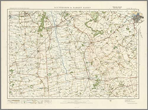Size 73 x 100 cm Scunthorpe /& Market Rasen Ordnance Survey of England and Wales 1920 Series